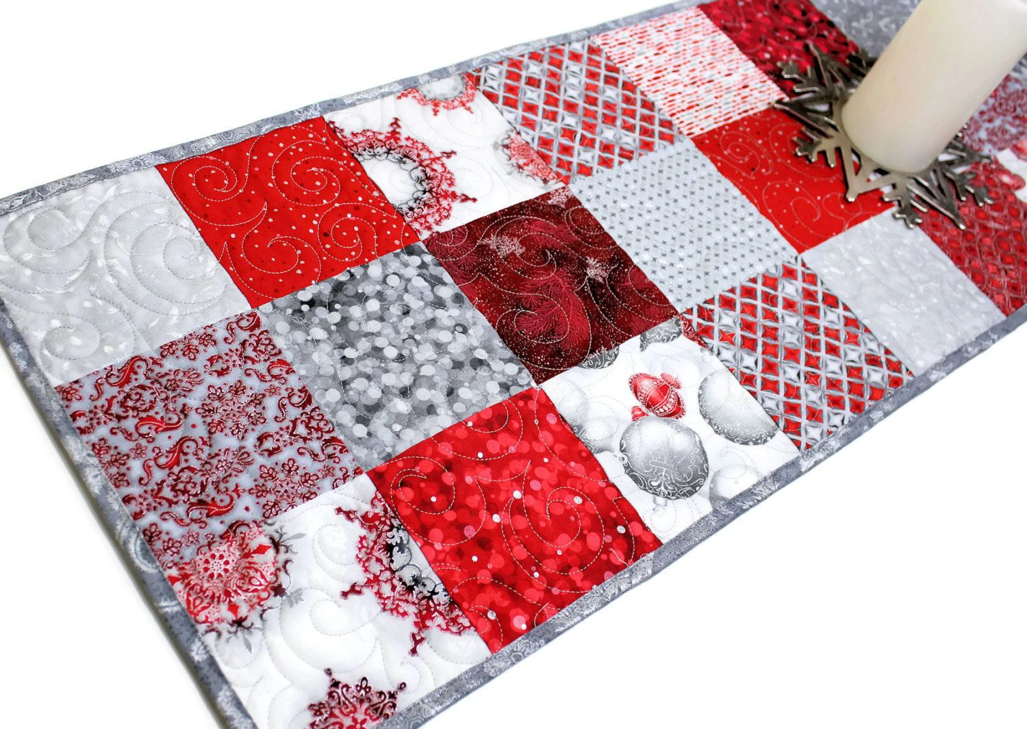 Red And Silver Quilted Christmas Table Runner Winters Grandeur Charms Elegant Quilt