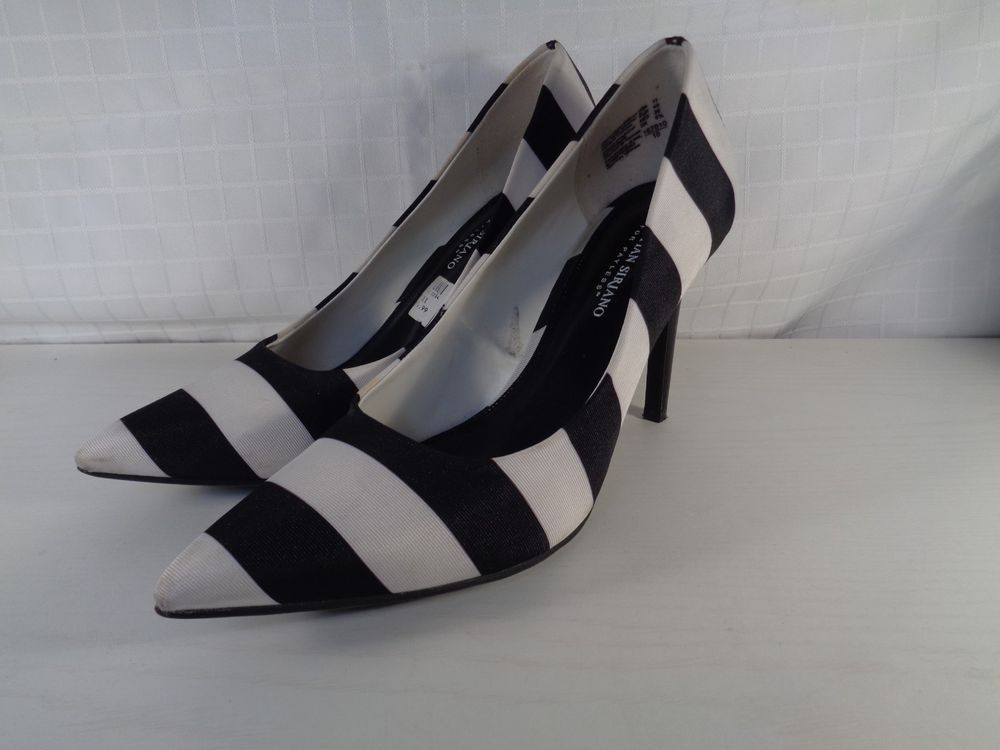 Black White Striped Classic Pumps Size 11 M 4 1 4 Heel Worn Once W 320 Fashion Clothing Shoes Accessories Womensshoes Heels Heels Classic Pumps Pumps