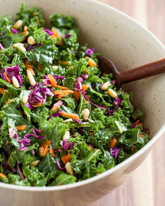 Kale Salad With Red Cabbage Carrots And Pine Nuts Recipe Red Cabbage Salad Kale Salad Red Cabbage