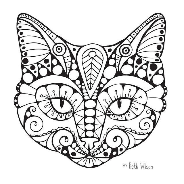Vraiment pas mal ce coloriage de chat. A vos crayons