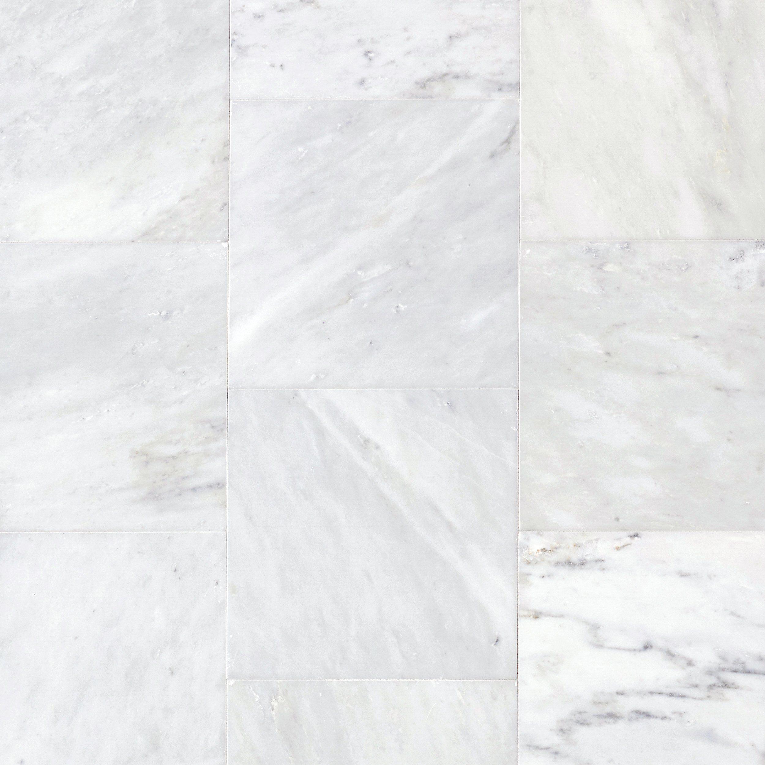 carrara white honed marble tile floor