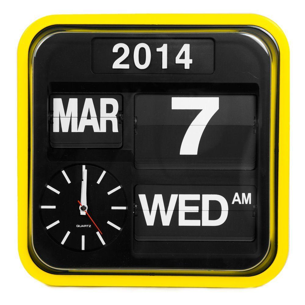 MyHaus Retro Square Auto Calender Flip Clock - Yellow