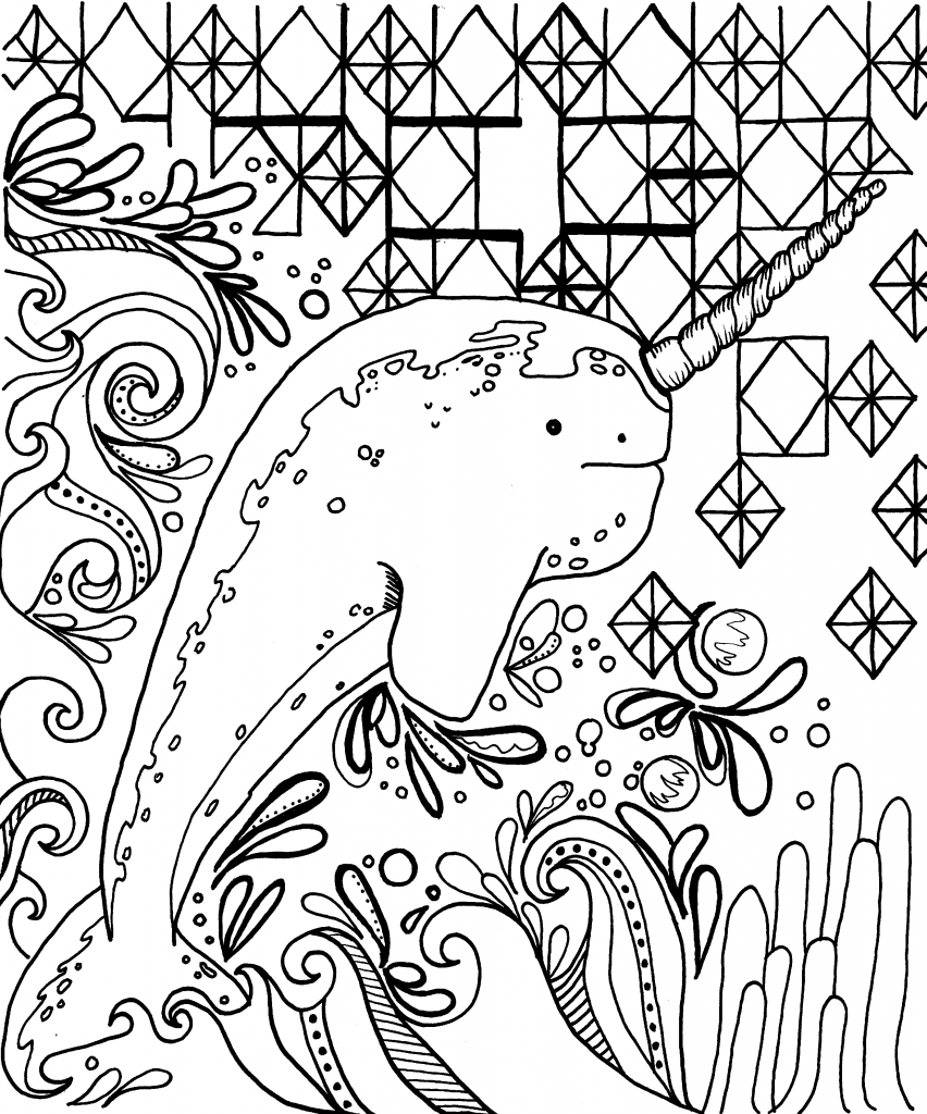 Narwhal Coloring Pages   Unicorn coloring pages, Coloring ...