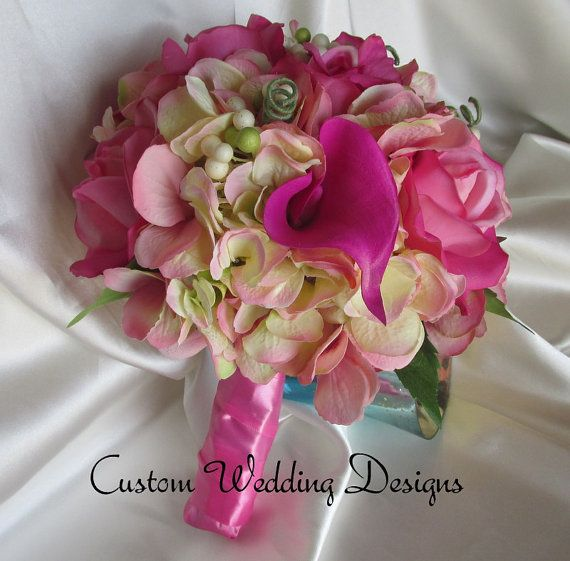 Fuchsia Real Touch Calla Lilies Roses and by Customweddingdesigns, $125.00