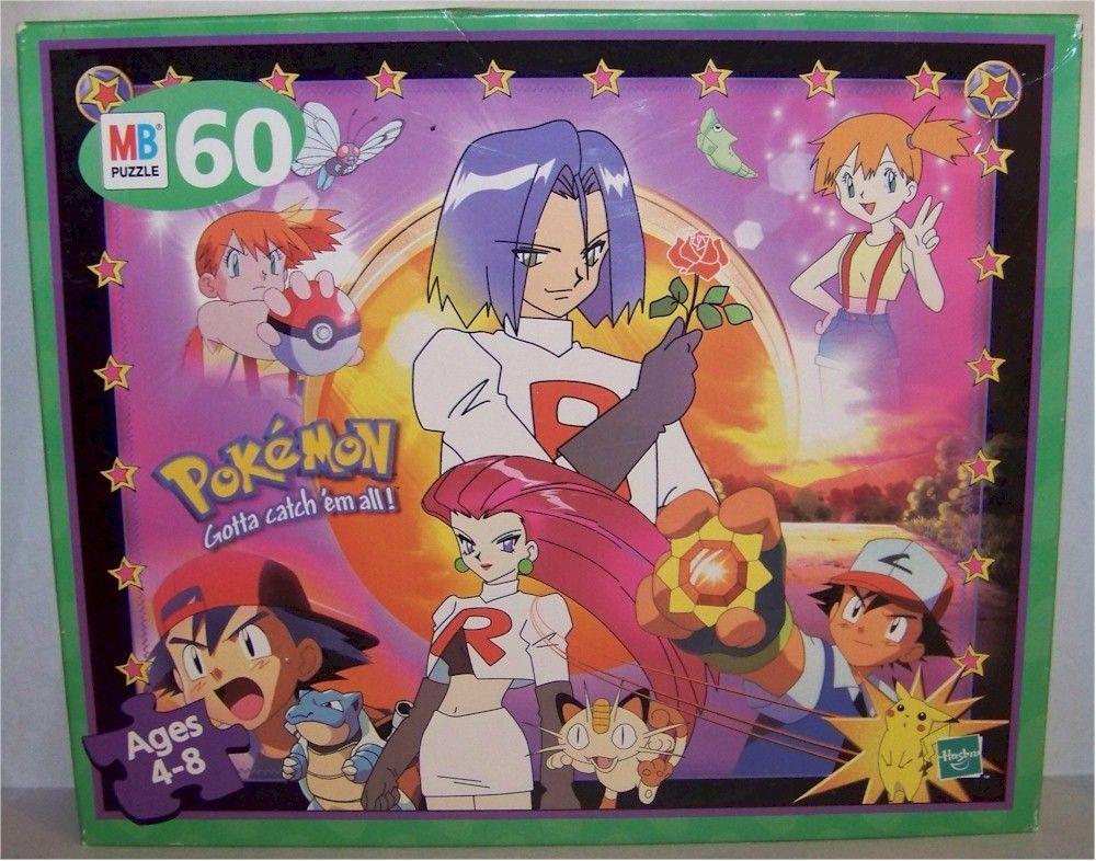 552b79436439 Pokemon Puzzle Team Rocket Jesse James Misty Ash Ketchum Butterfree Metapod  Blastoise Meowth Pikachu 60 pieces Hasbro 1999