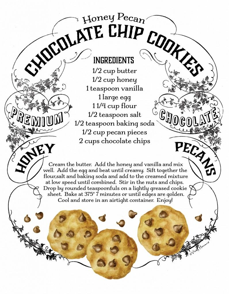 Choc chip cookie label can frame or use to label cookies