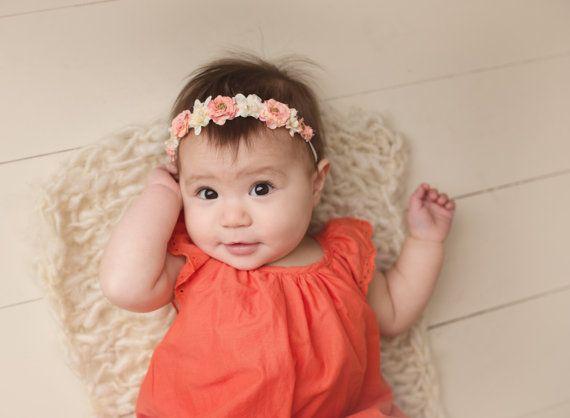 sélectionner pour authentique dessin de mode couleurs harmonieuses Bandeau de couronne de fleurs bébé, nouveau-né fleur ...