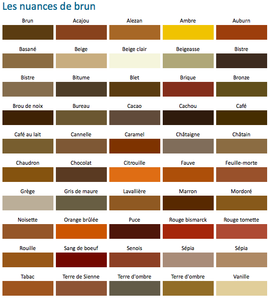 Nuance de brun colors pinterest fashion Nuance de couleur peinture