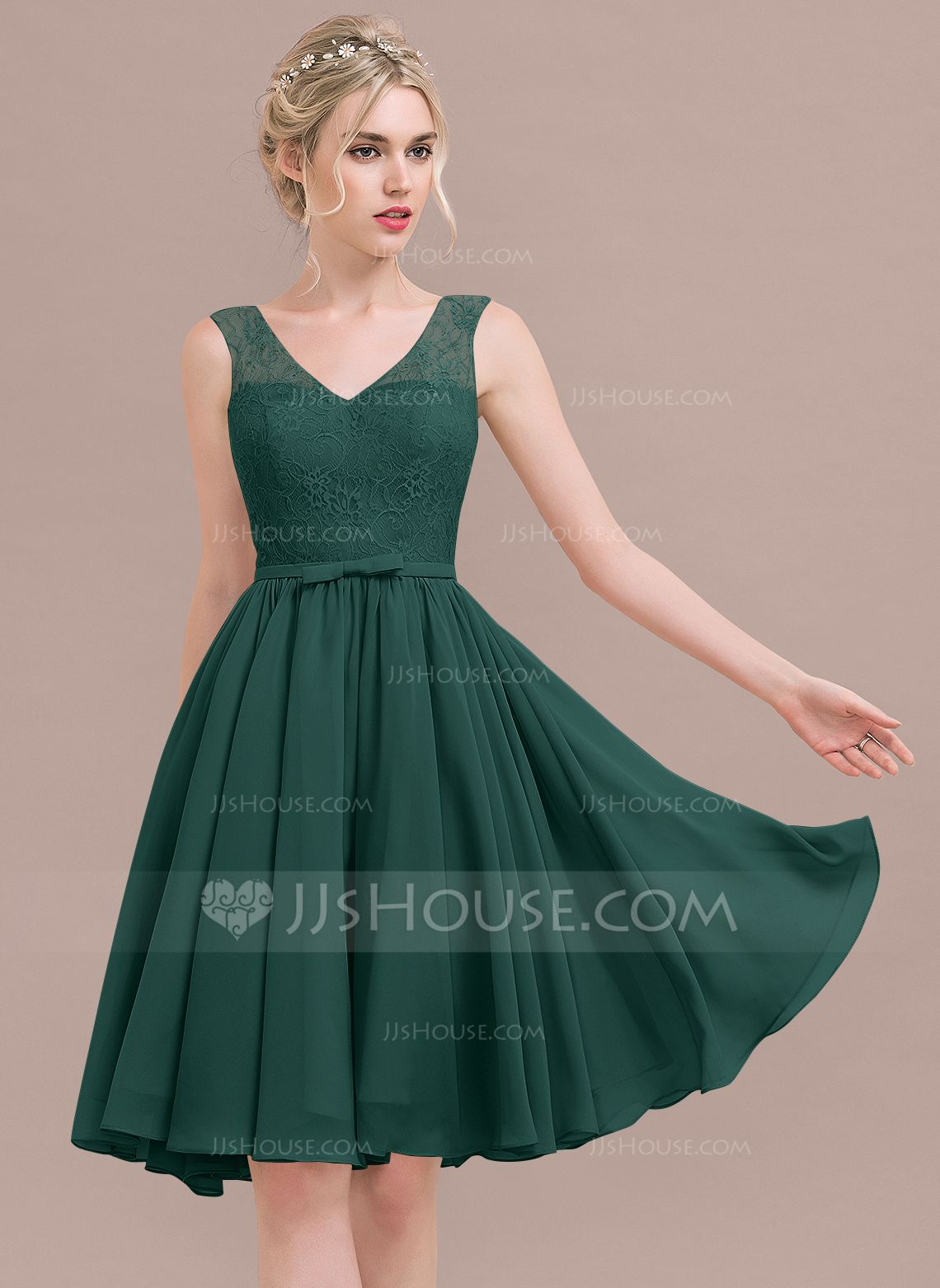 Us 97 00 A Line Princess V Neck Knee Length Chiffon Lace Bridesmaid Dress With Bow S Jj S House Bridesmaid Dresses Chiffon Lace Tea Length Bridesmaid Dresses [ 1562 x 1140 Pixel ]