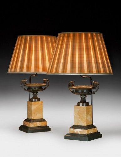 A pair of French Charles X. bronze and sienna marble tazzas, now on stands for conversion to lamps and complete with shades. Circa 1830. For sale athome decor ideas, home furniture, luxury furniture, high end furniture, design ideas, interior design ideas. For more inspirations: www.bocadolobo.com