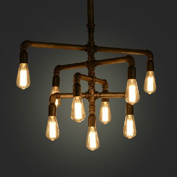 Retro American Pipe Pendant Chandelier Lights Restaurant Coffee Bar Lamps Bed Room Dining