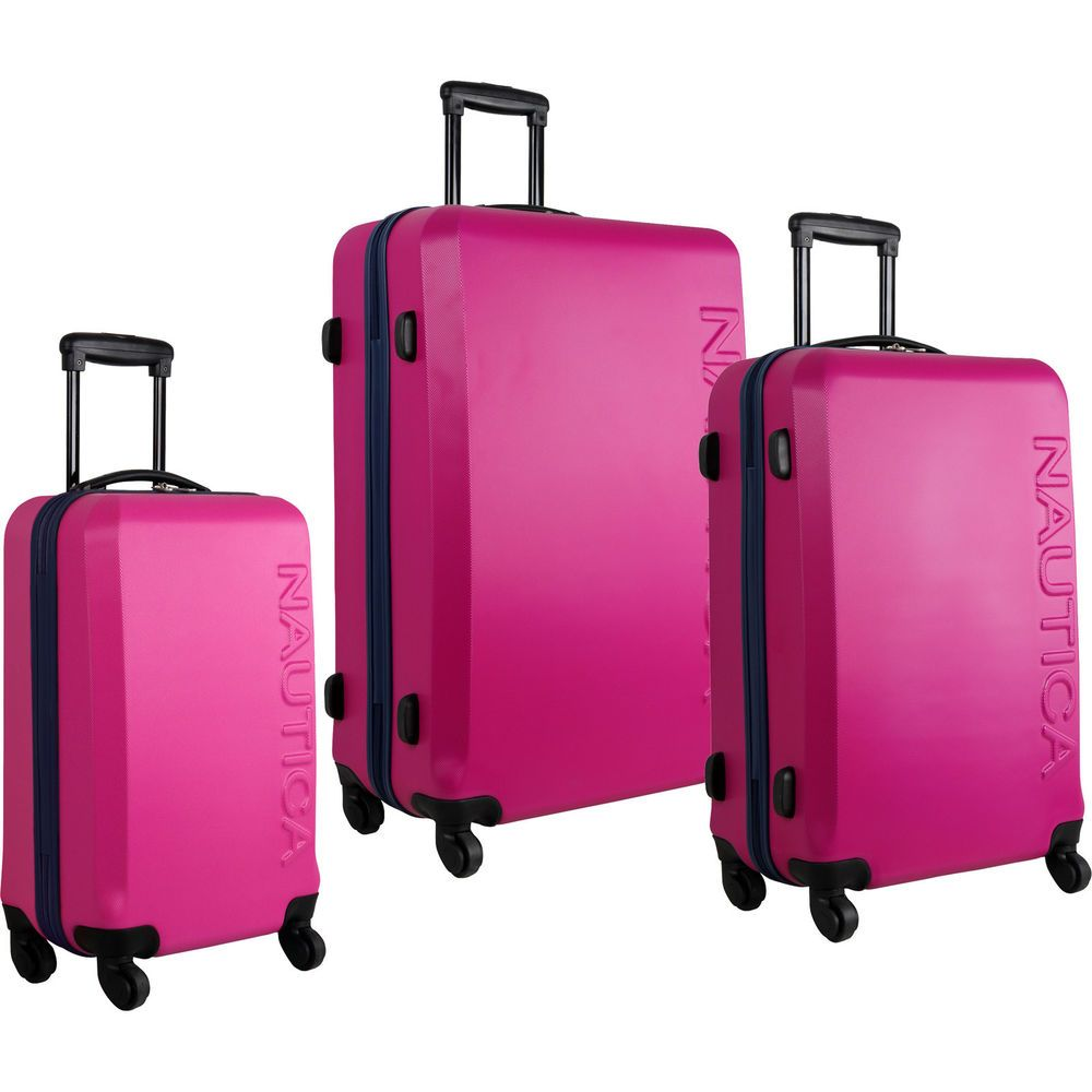 NAUTICA AHOY HARDSIDE SPINNER 3 PIECE LUGGAGE SET PINK NAVY $1040 ...