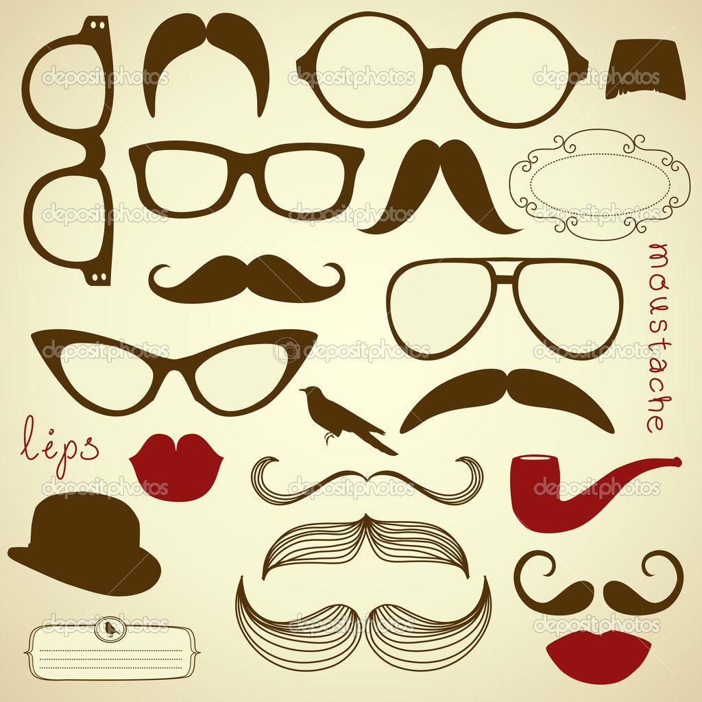 Seleciona retro - gafas de sol, labios, bigote — Vector stock ...