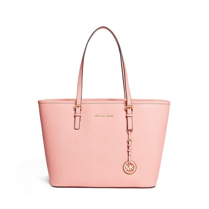 Michael Michael Kors 'Jet Set Travel' Saffiano Leather Top Zip Tote in Pink