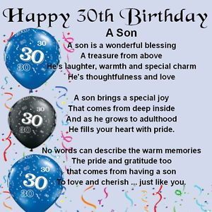 30th Birthday Quotes For Son Quotesgram Birthdays Wishes 30th