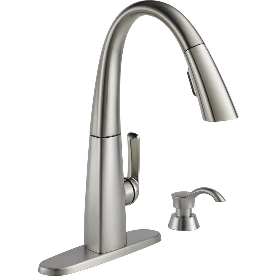 Delta Arc Spotshield Stainless 1-Handle Pull-Down Kitchen Faucet ...