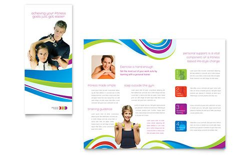 Personal Trainer Tri Fold Brochure   Word Template U0026 Publisher Template  Brochure Word Templates