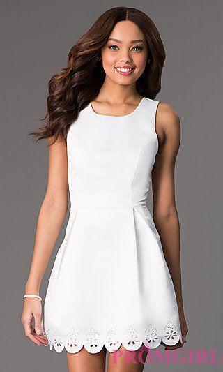 Short Sleeveless White Dress at PromGirl.com | College ...