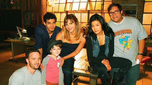 The cast of Scorpion on set while filming True Colors