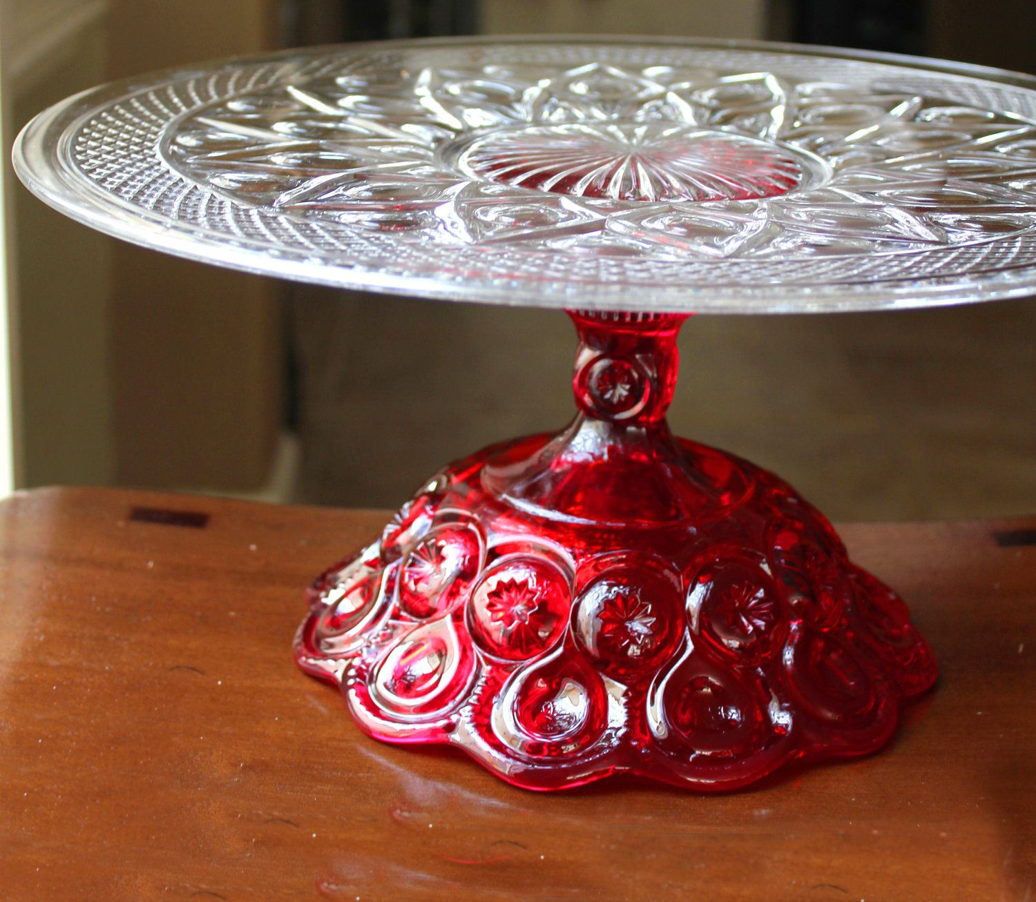 14\  Cake Stand / Cake Plate Pedestal / Ruby Red Cake Stand. & 14\