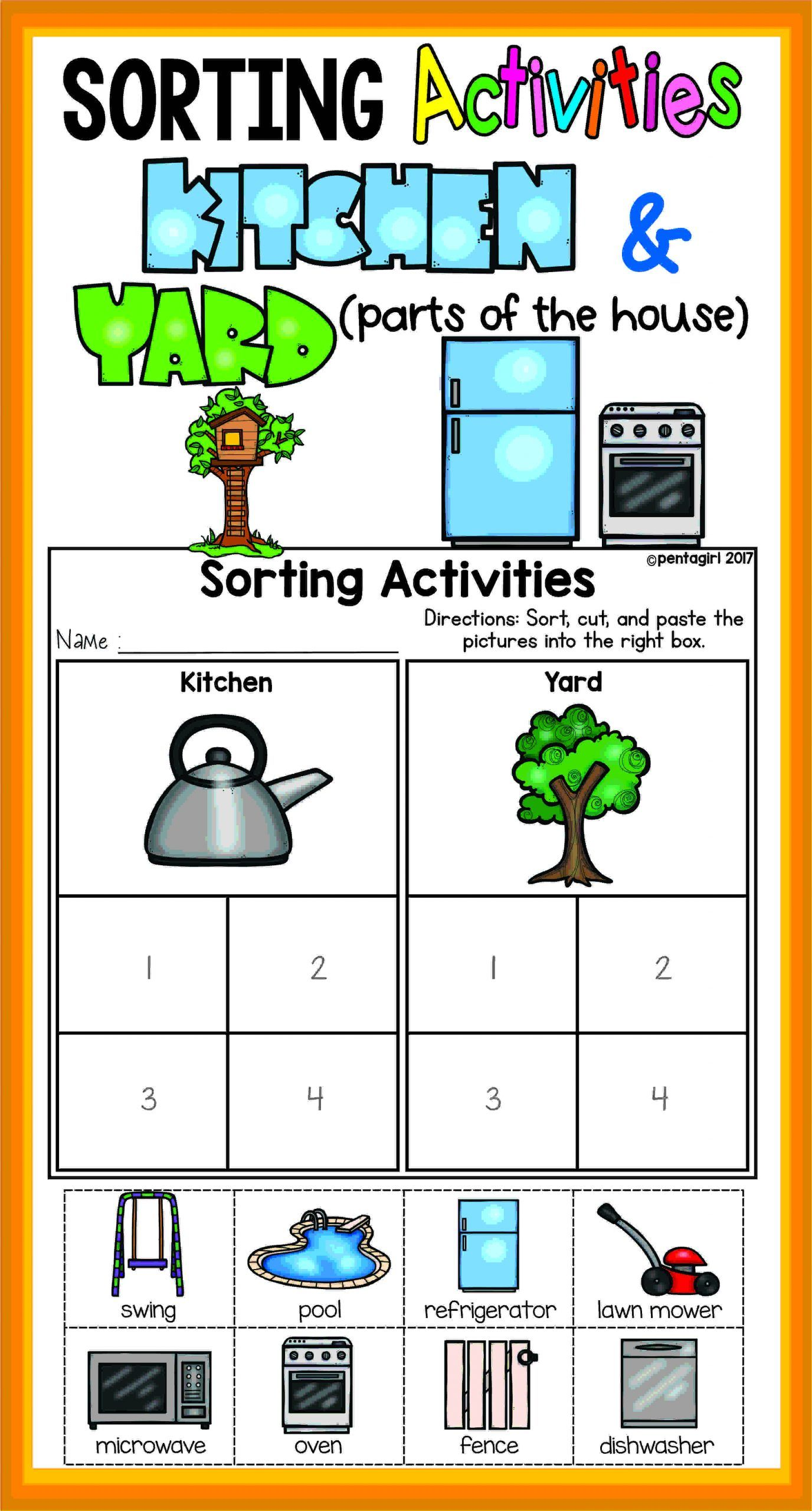 Sorting Worksheets For Kindergarten In
