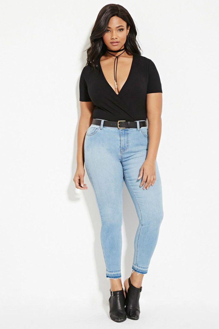 Plus Size Frayed Skinny Jeans Apparel Pinterest Skinny Jeans