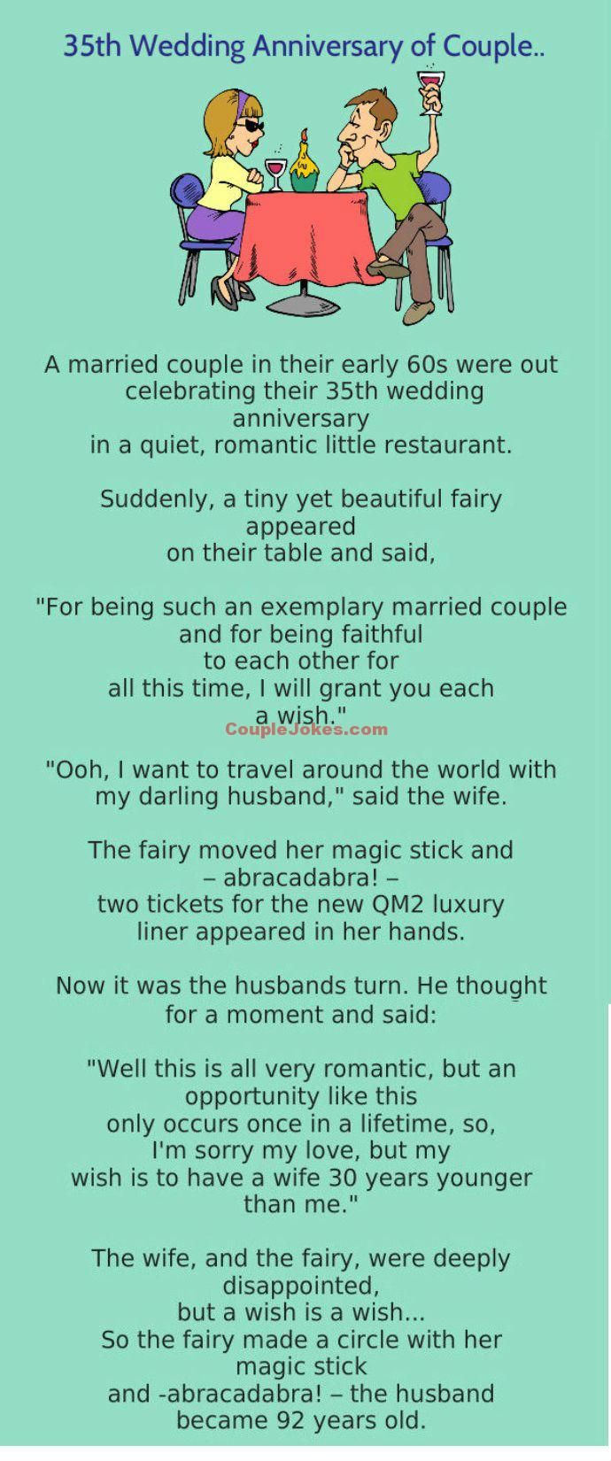 A Couple Was Celebrating 35th Wedding Anniversary November 6 2017funny 35th Wedding Anniversary Anniversary Quotes Funny Wedding Jokes