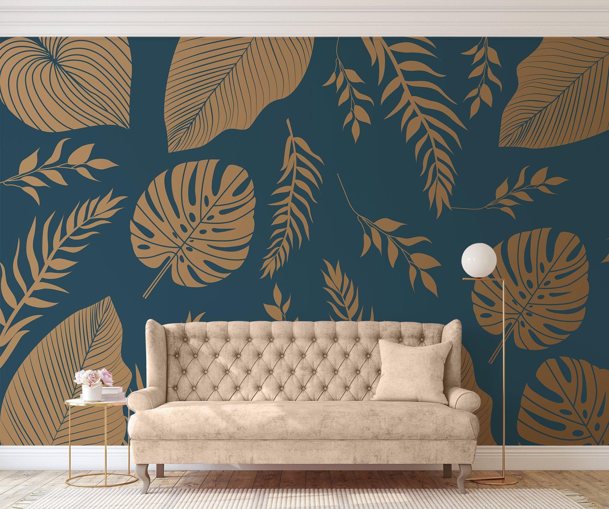 Teal wallpaper with gold monstera Self adhesive Peel