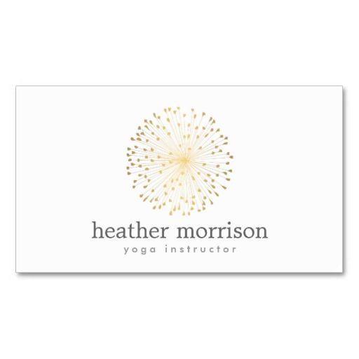Gold Dandelion Starburst Logo On White Business Card Zazzle Com Business Cards Creative Templates Business Card Design White Business Card