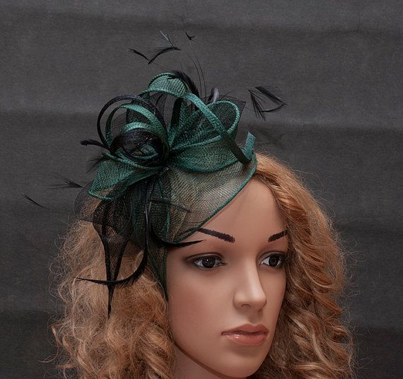 Green (dark green moss green forest green) fascinator in the combination  with black crin and black feathers. Fascinator is mounted on the thin (3mm  wide) ... 52516a5975c