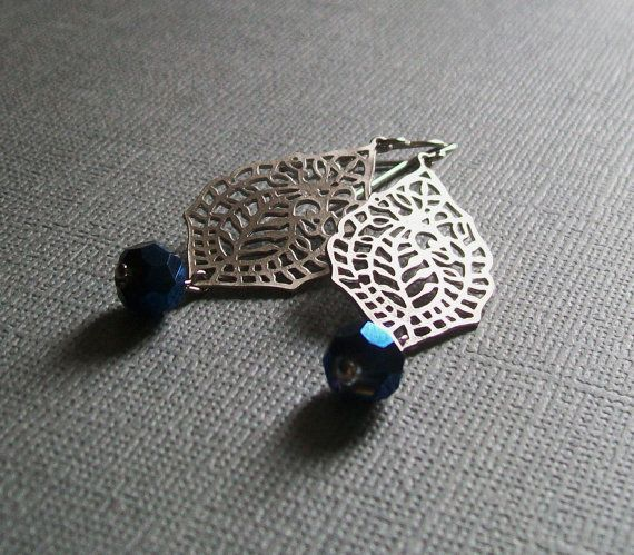 Paisley Earrings in Silver with Midnight Blue Czech Bead. SALE. Modern. Bridal Jewelry