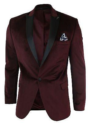 cc3defbde023a Mens Slim Fit 1 Button Velvet Blazer Tuxedo Dinner Jacket Maroon Burgundy  Black