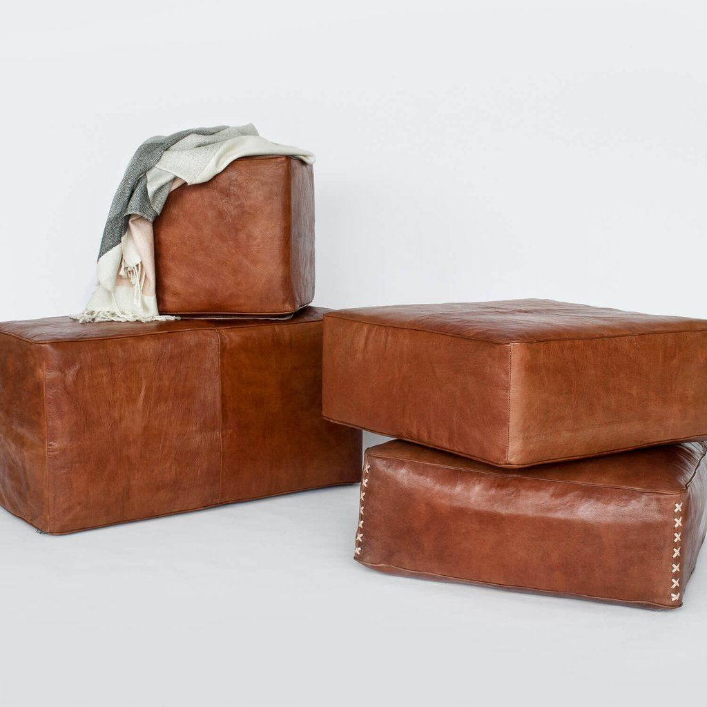 Moroccan Brown Leather Bench | Rectangular Pouf – The Citizenry ...