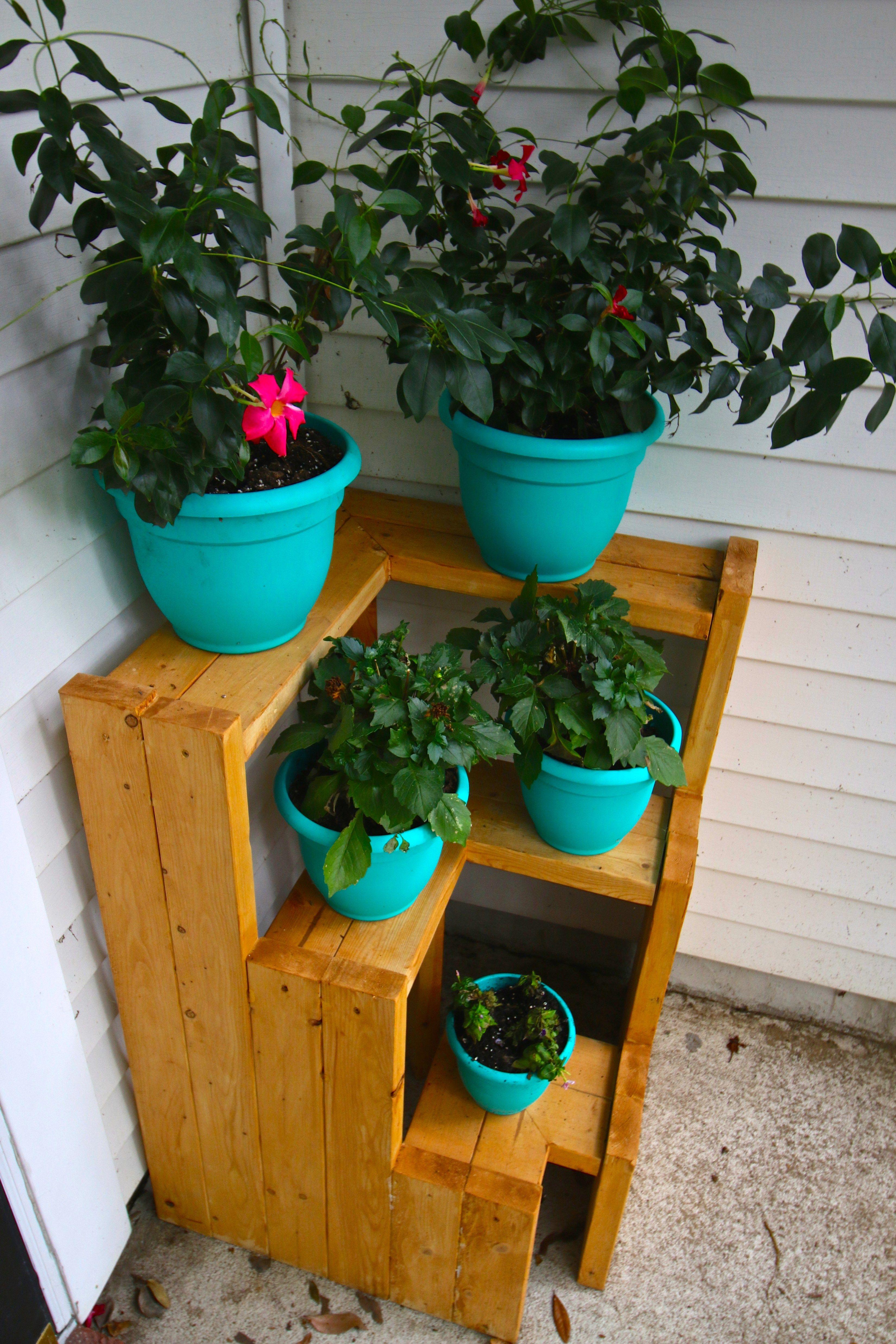 Diy 3 tiered corner plant stand indoor plant shelves