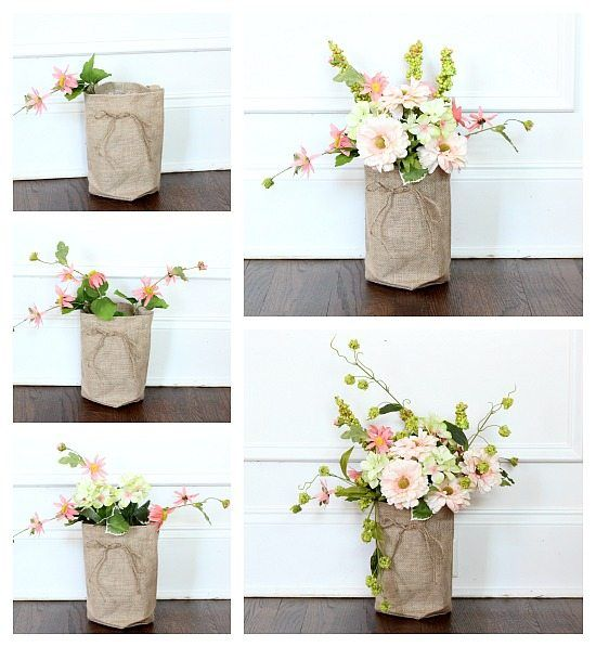 Step By Step Instructions For Flowers In A Burlap Bag Paper Bag