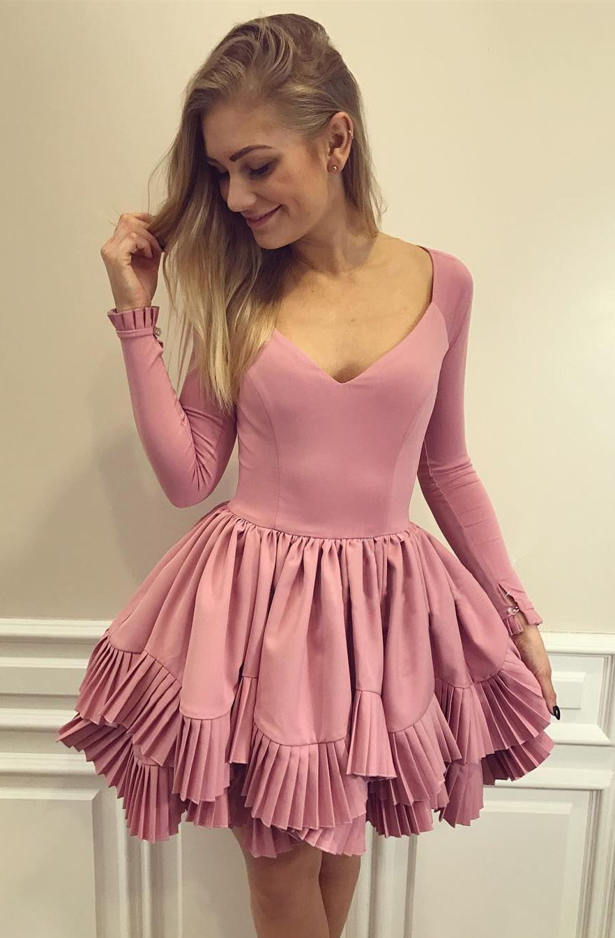A-Line V-Neck Long Sleeves Blush Satin Short Homecoming Dress with ...