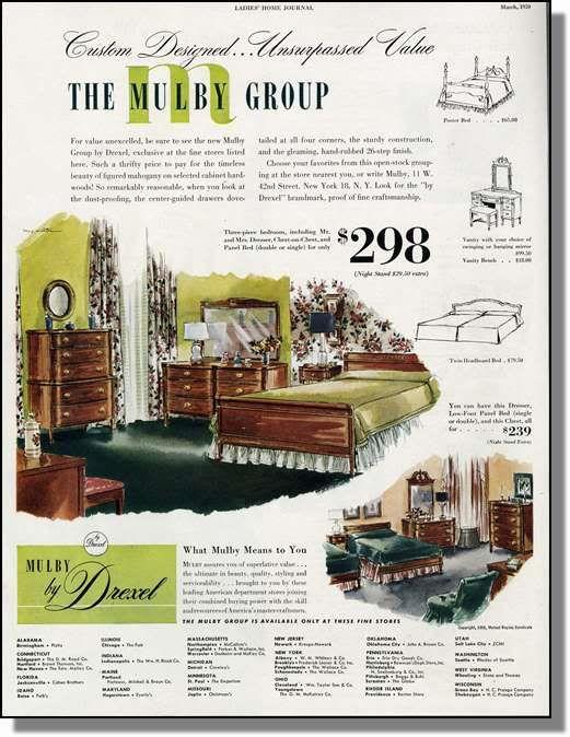 Bedroom Furniture 1950 S 1950 mulby groupdrexel bedroom furniture print-ad | group