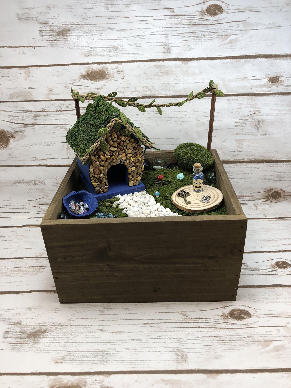 Diy Fairy Garden Kit In A Wood Box Stone Fairy House Fairy
