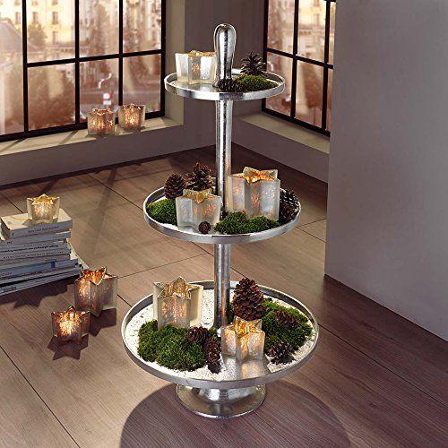 gro e deko etagere 3 stufig silber h he cm pureday. Black Bedroom Furniture Sets. Home Design Ideas