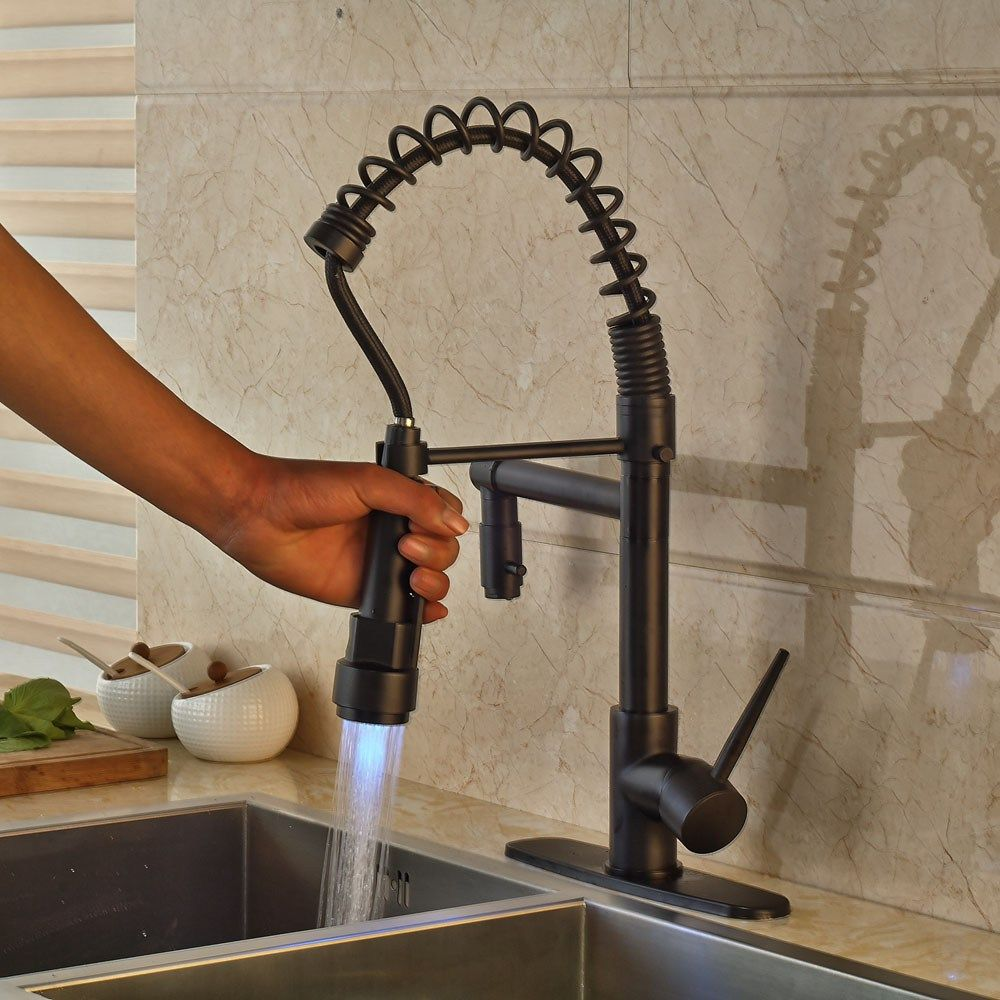 sink faucet hot cold water kitchen sink faucet swivel spout spring ...