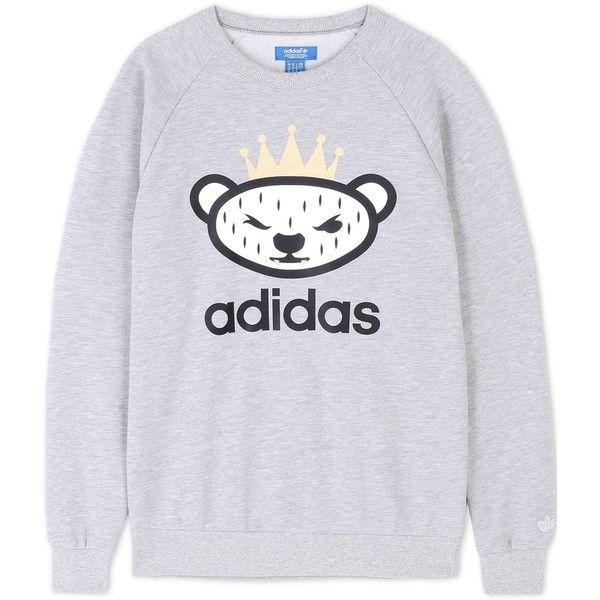 Adidas Originals By Nigo Sweatshirt ($51) ❤ liked on Polyvore featuring mens, men's clothing and light grey