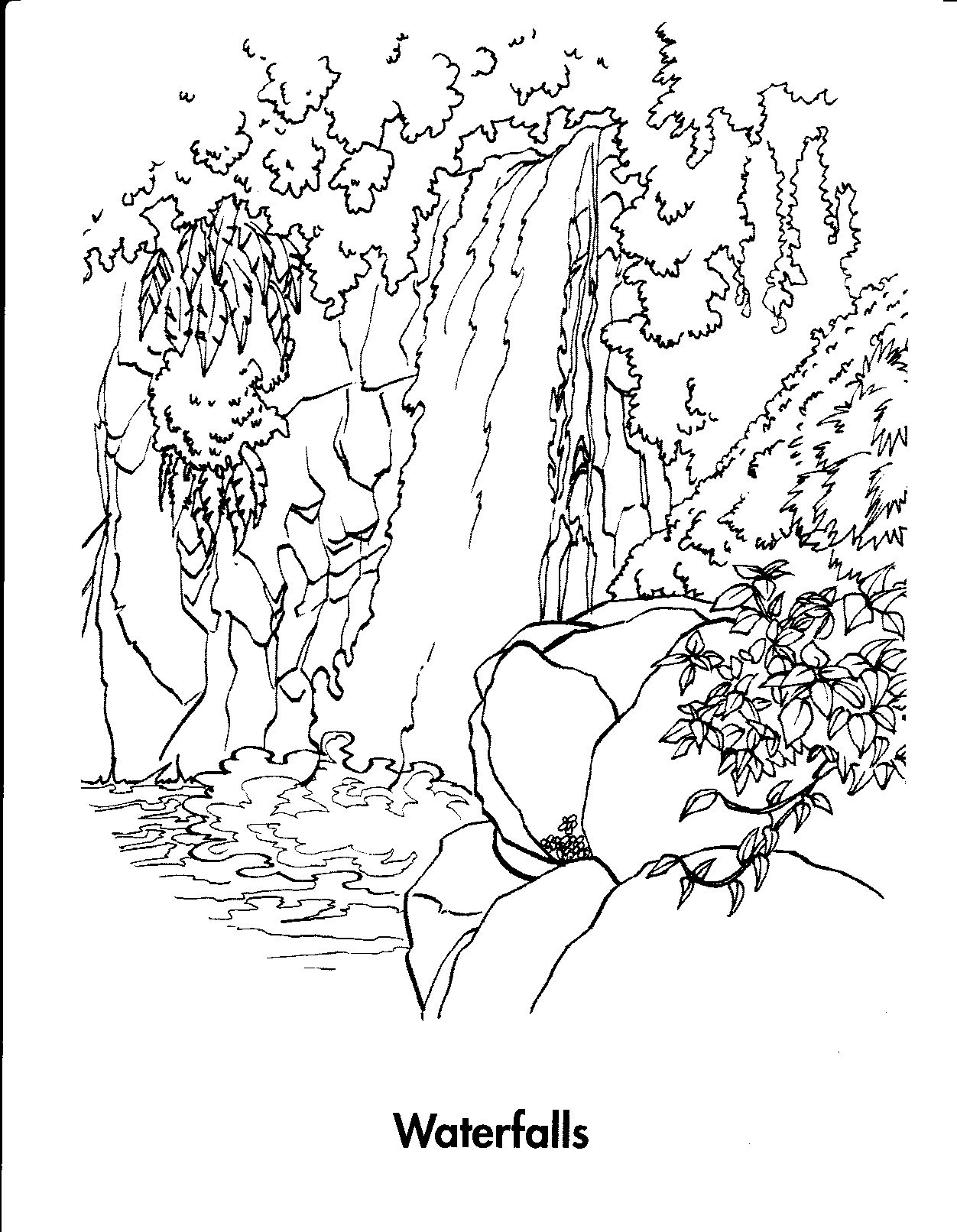 Waterfall 7 Nature Printable Coloring Pages With Coloring