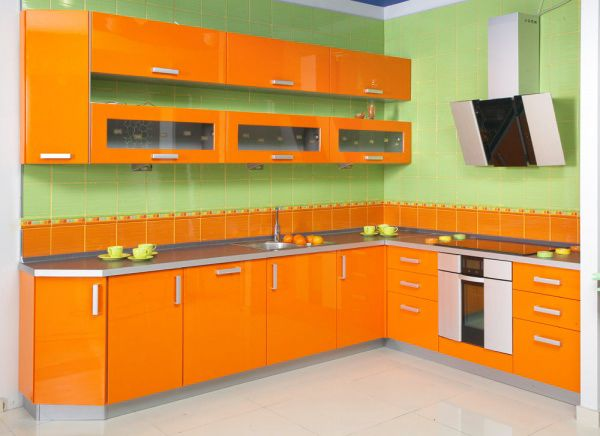 Green Tile Wall Orange Kitchen Detail : Best Inspirations   Refleta