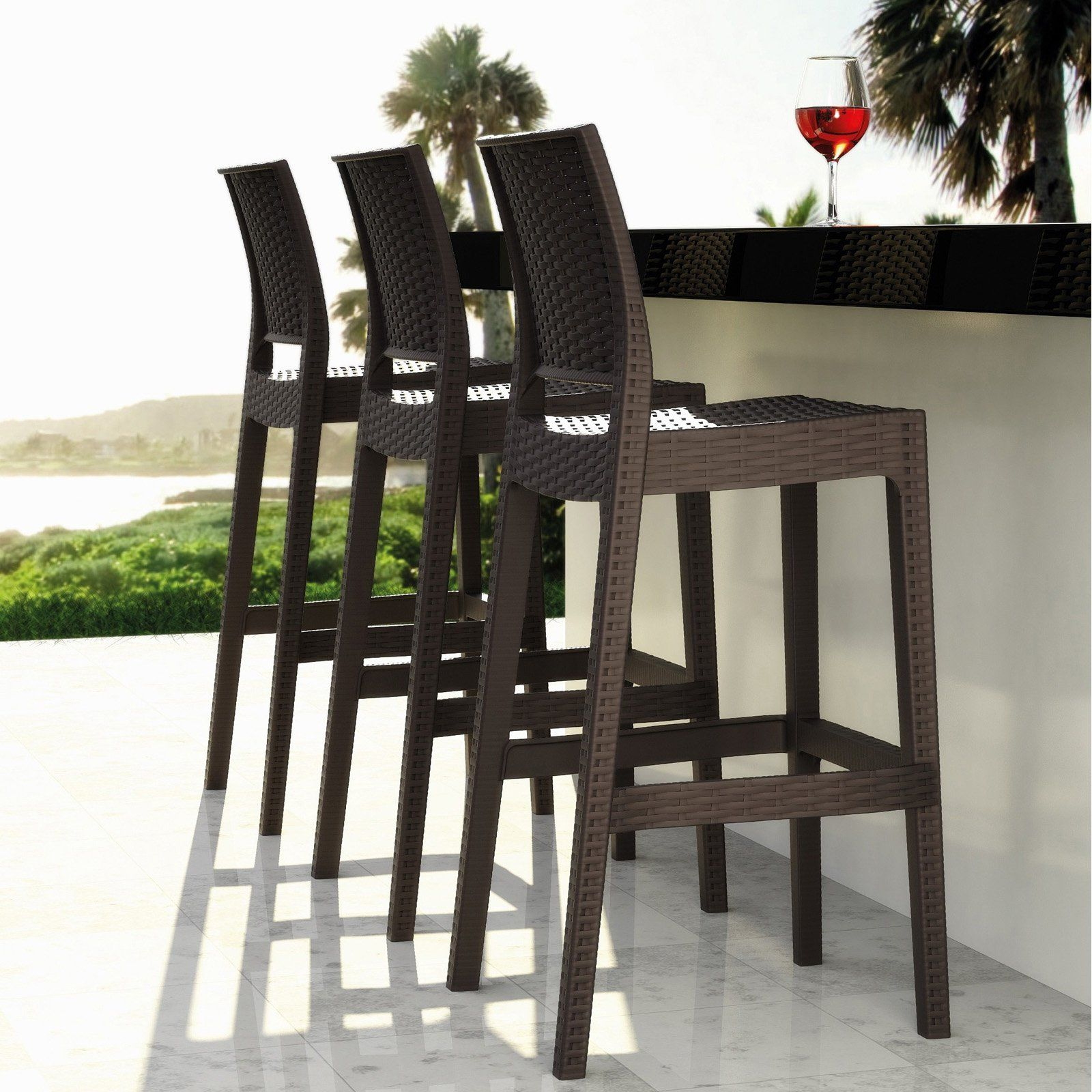 Compamia Jamaica Resin Wicker Barstool With Optional Cushion Set
