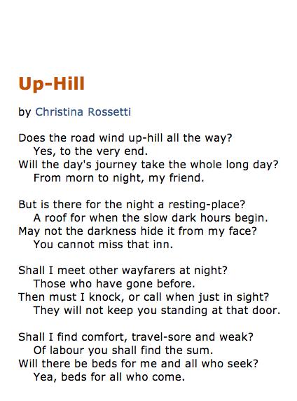 uphill christina rossetti essay