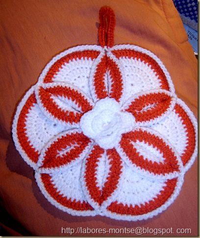 Agarradera en crochet linda combinación rojo y blanco ...