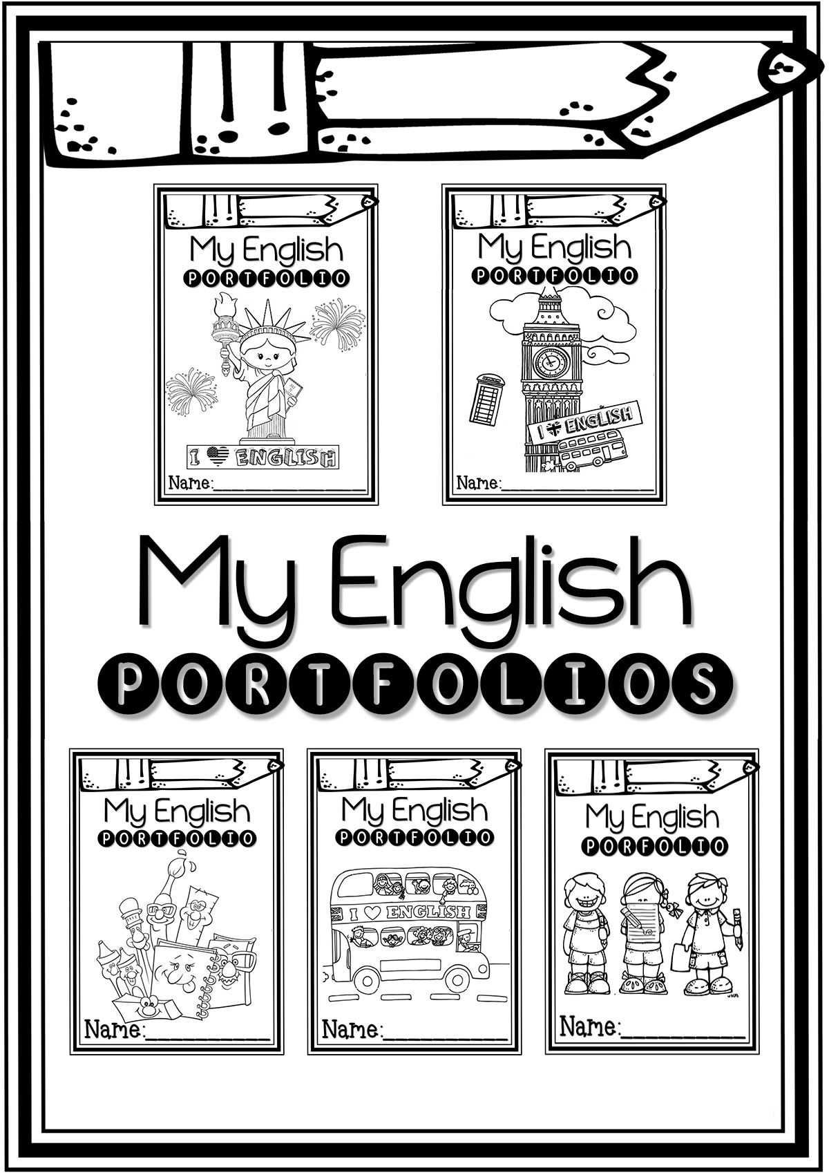 FREE English Portfolio Covers For Young Learners