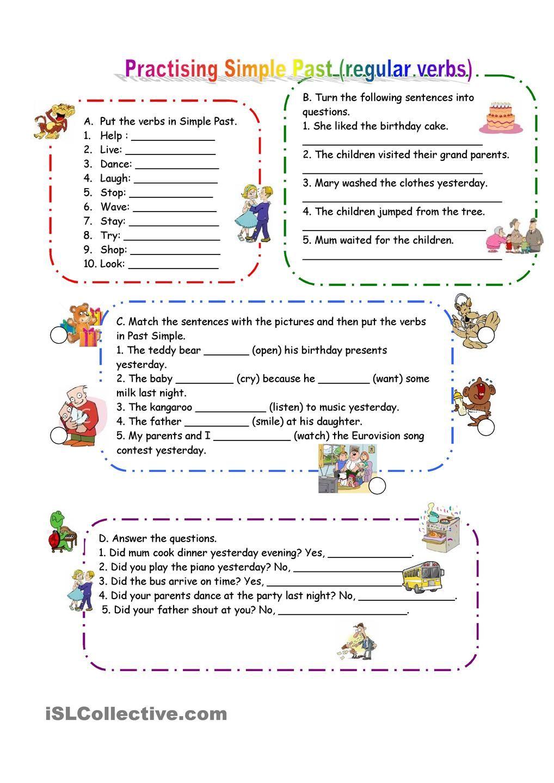 Practicing Past Simple (regular verbs)   Verb worksheets [ 1440 x 1018 Pixel ]