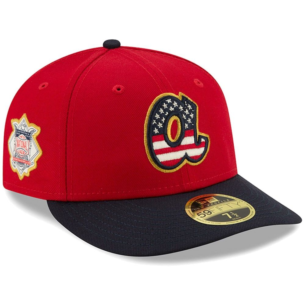 Men S New Era Red Navy Atlanta Braves 2019 Stars Stripes 4th Of July On Field Low Profile 59fifty Fitted Hat Atlanta Braves Cowboys Cap Hats For Men