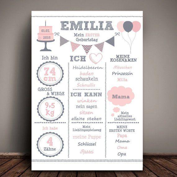 Meilensteintafel 1.Geburtstag rosa/grau, Chalkboard, Geburtstagsposter, Geschenk erster Geburtstag #lettercakegeburtstag